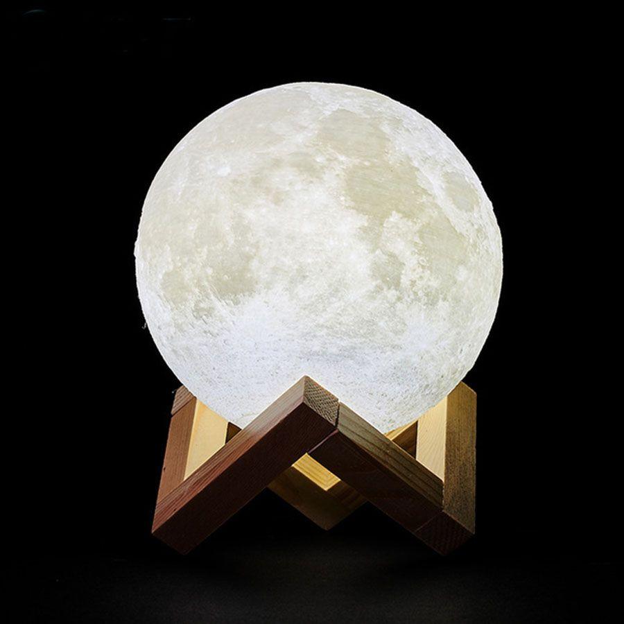 Livraison directe 3D impression Rechargeable lune lampe LED veilleuse créative tactile interrupteur lune lumière pour chambre décoration cadeau d'anniversaire