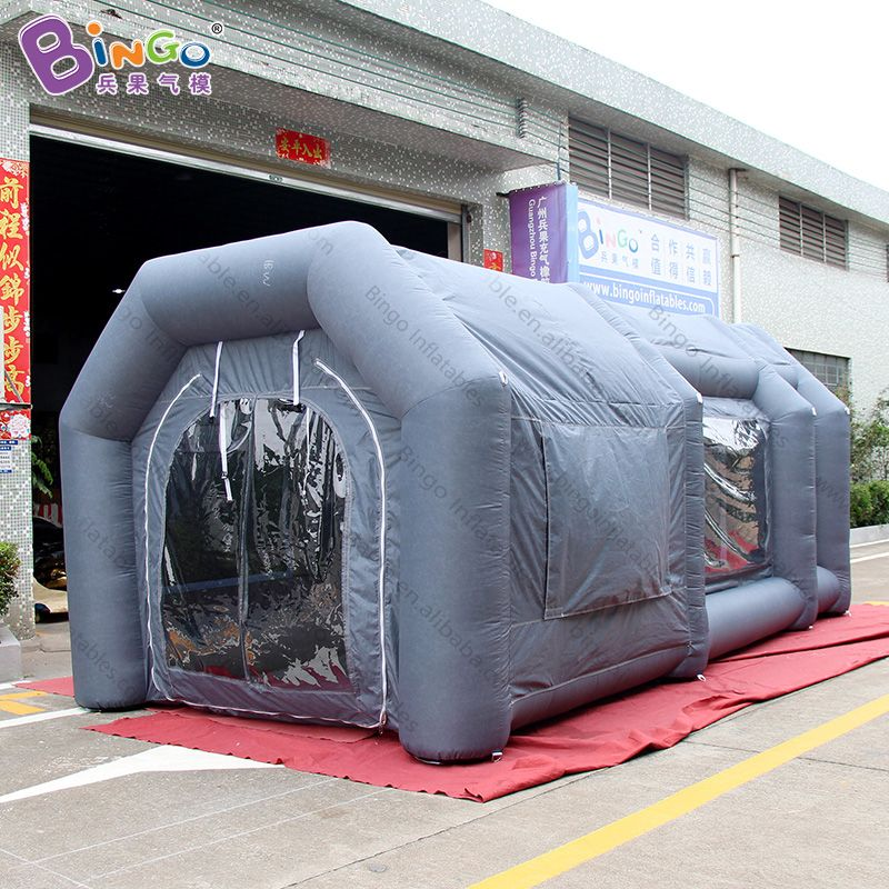 customized 6*3.3*3m grey color inflatable spray paint booth tent -toy tent