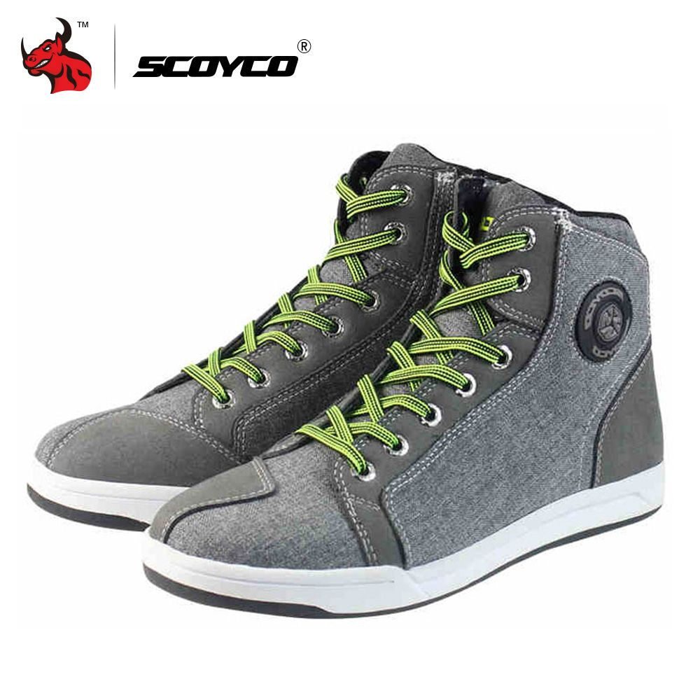SCOYCO bottes de Moto hommes route rue chaussures décontractées Bato Motocross bottes respirant Moto équipement de protection lin microfibre