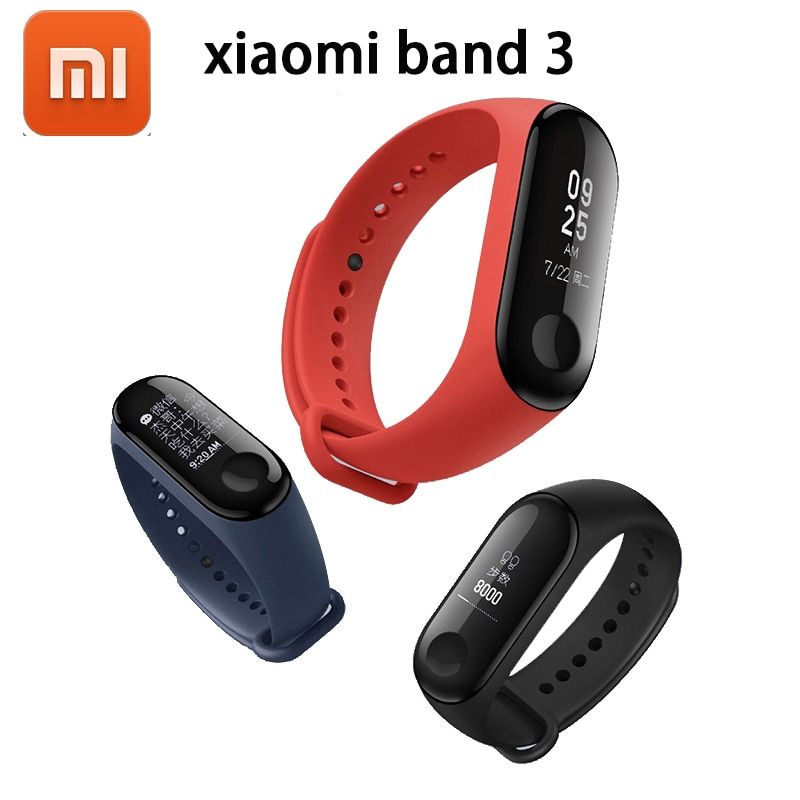 2018 New Original Xiaomi Mi Band 3 Smart Bracelet - Black ,0.78 inch OLED Instant Message Caller ID Weather Forecate