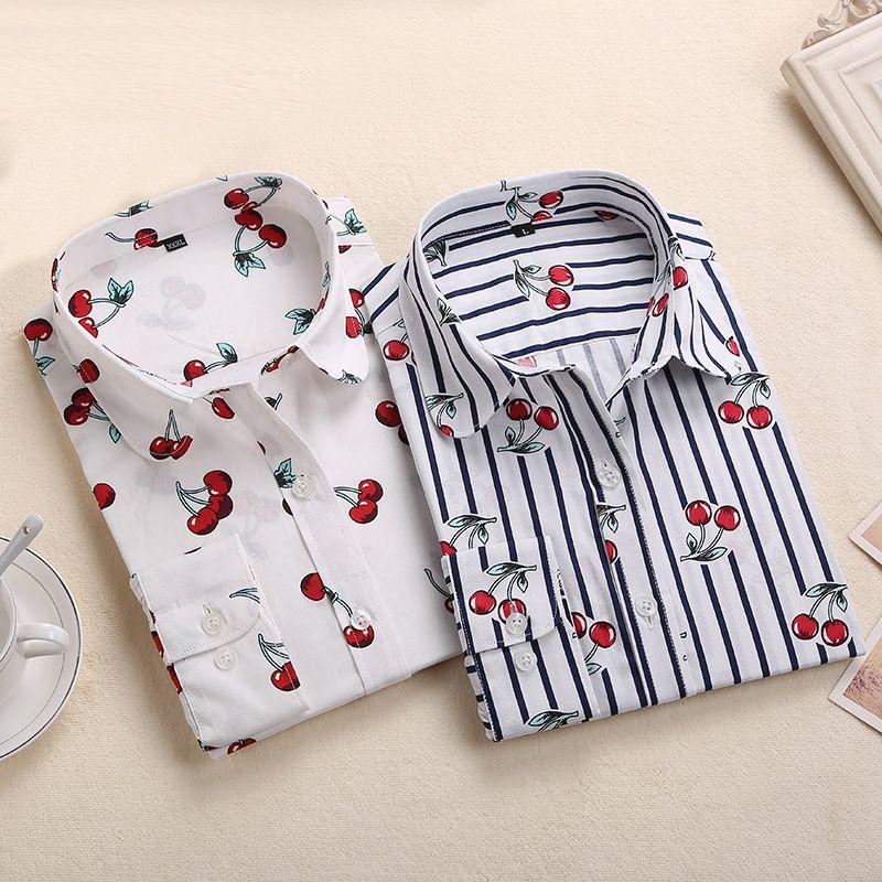 Nouveau chemisier Rose rouge imprimé Floral hauts chemises à manches longues femmes Blouses en coton 2019 été Blusas Femininas grande taille 5XL