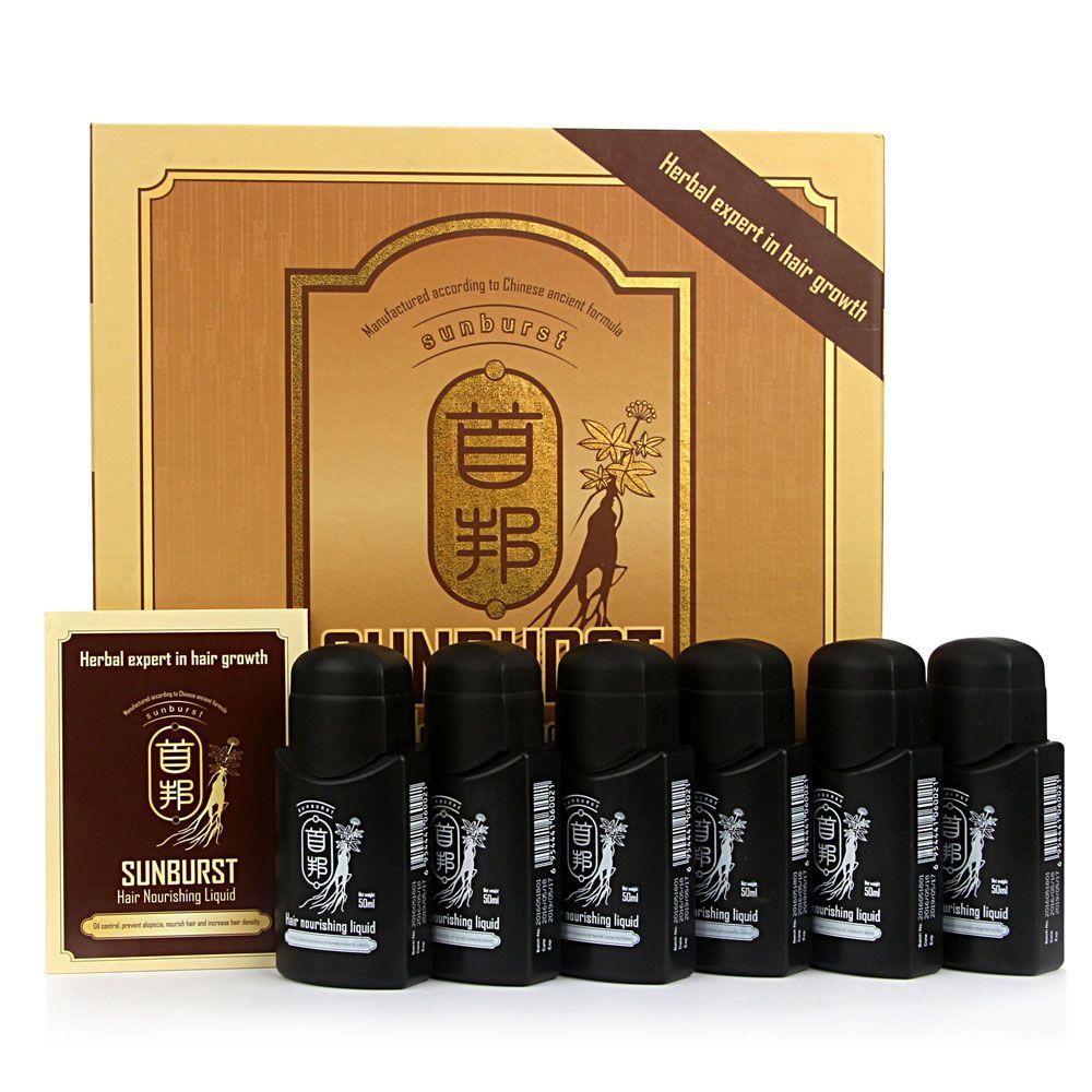 Sunburst Cheveux Nourrissant Liquide 6*50 ml Chinois herbes croissance des cheveux produits anti perte de cheveux Cheveux Dense Anglais/ arabe 100% véritable