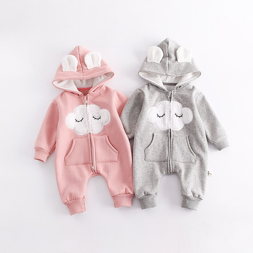 High Quality Newborn Girls Rompers Infant Clothes Cloud Pattern Baby Rompers Fleece Warm Jumpsuits Bebes Princess Baby Clothes