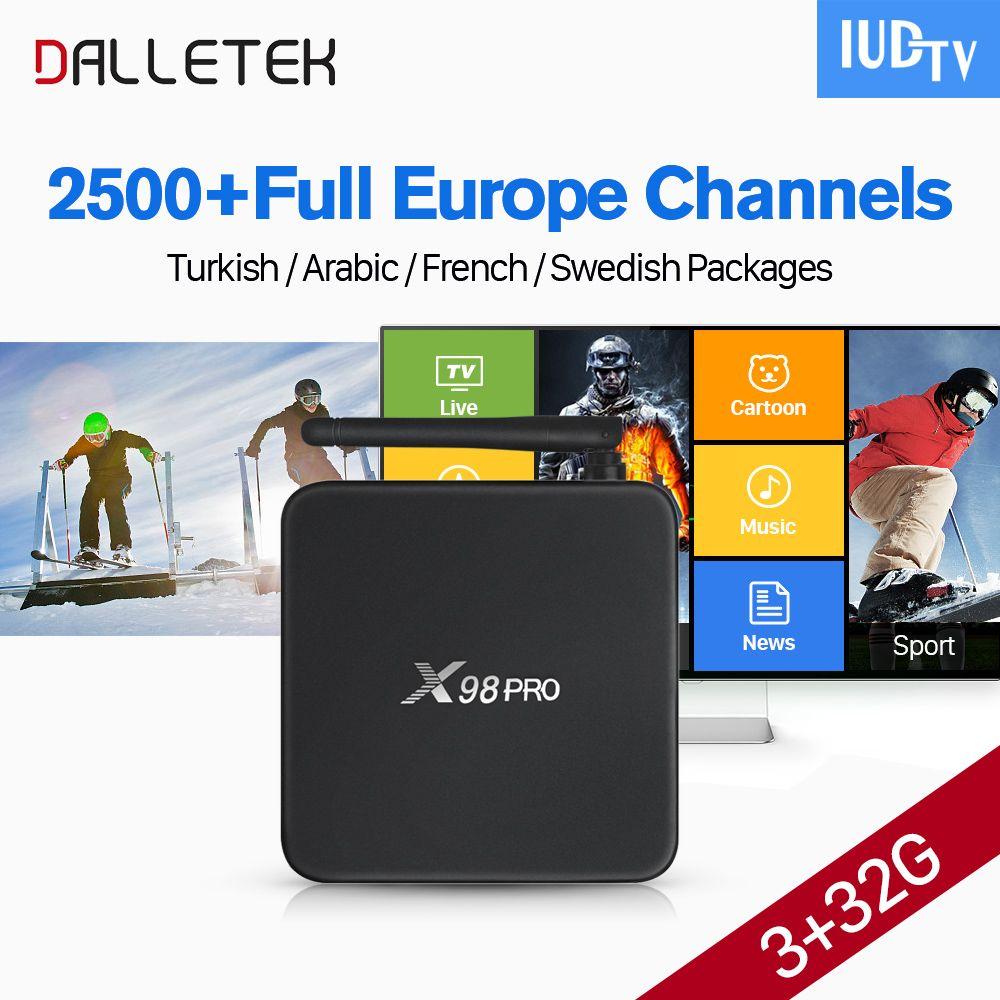 X98PRO IPTV L'europe boîte S912 Android 6.0 3G 32G avec 1 année 2500 + IPTV Suède Espagne Allemagne Italie ROYAUME-UNI Grèce IPTV IUDTV compte