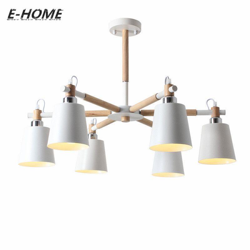 Creative simple 3/6/8 tête en bois massif LED lustre lampe pour salon blanc noir plafond lustres éclairage