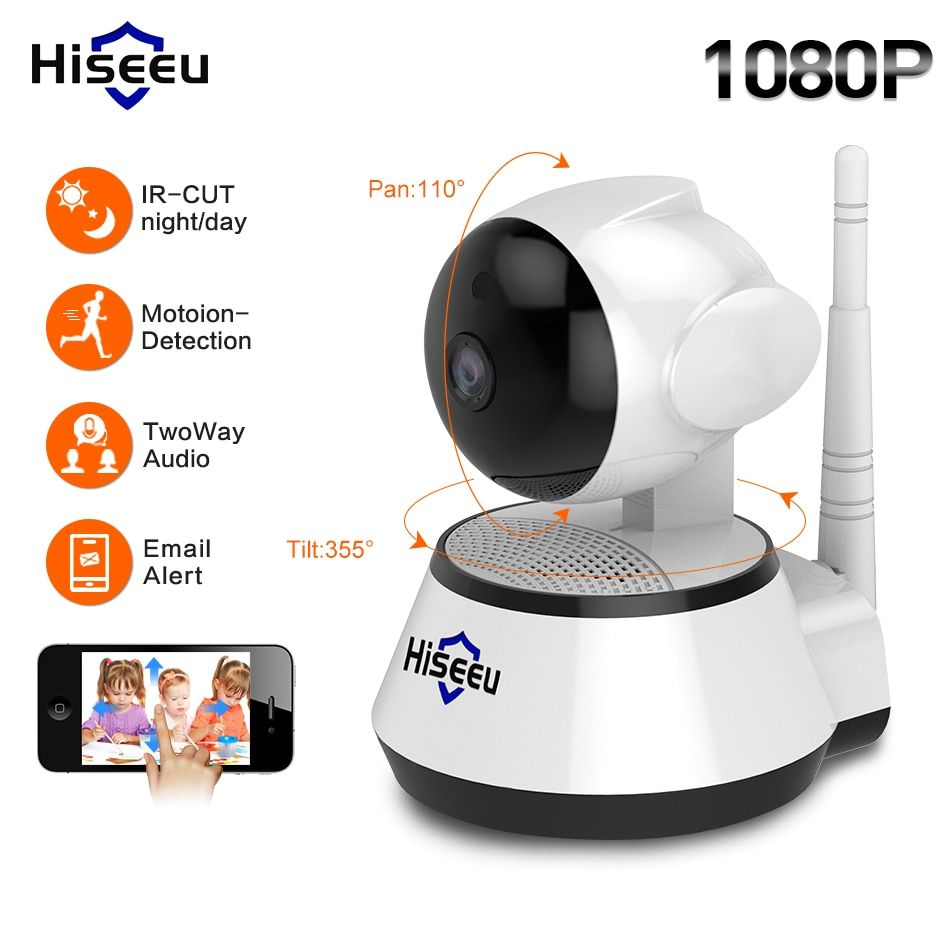 Hiseeu 1080P IP Camera 2MP Wi-Fi Wireless Security cctv Camera WiFi home Security Camera IP Baby Monitor Two-way Audio P2P