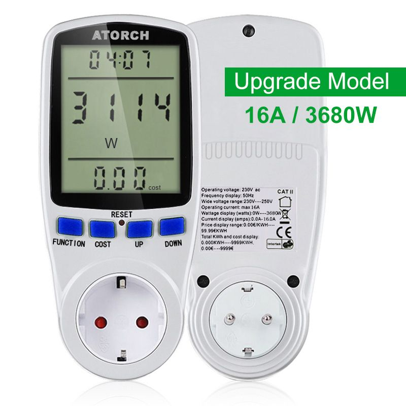 ATORCH 220v AC power meter digital wattmeter energy eu watt Calculator monitor electricity consumption Measuring socket <font><b>analyzer</b></font>