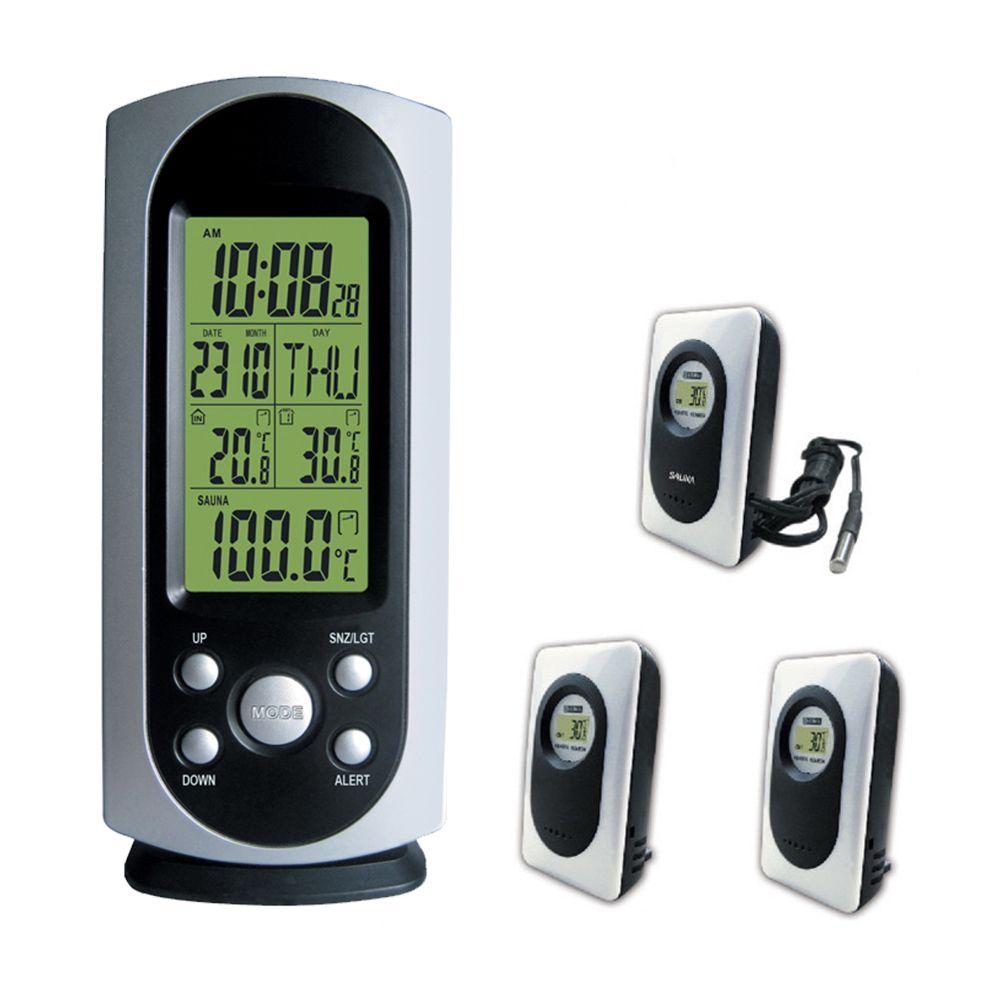 2019 DYKIE Wireless Wetter Station Digital LCD Wecker Indoor Outdoor Temperatur Alarm Hintergrundbeleuchtung Sauna Thermometer