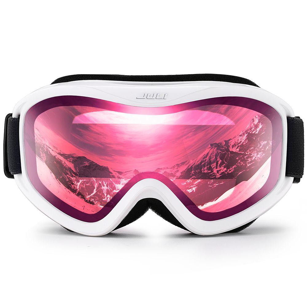 Skibrille, Schnee Sport Snowboardbrille mit Anti-fog UV Doppel Objektiv für Männer Frauen (Weiß rahmen + 16% VLT Rosa Len)