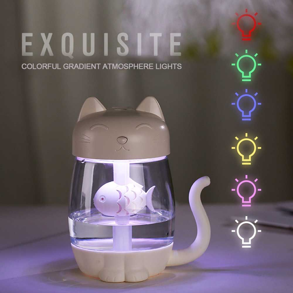 3 en 1 350 ML USB chat humidificateur d'air à ultrasons Cool-brume Adorable Mini humidificateur avec lumière LED Mini ventilateur USB pour le bureau à domicile