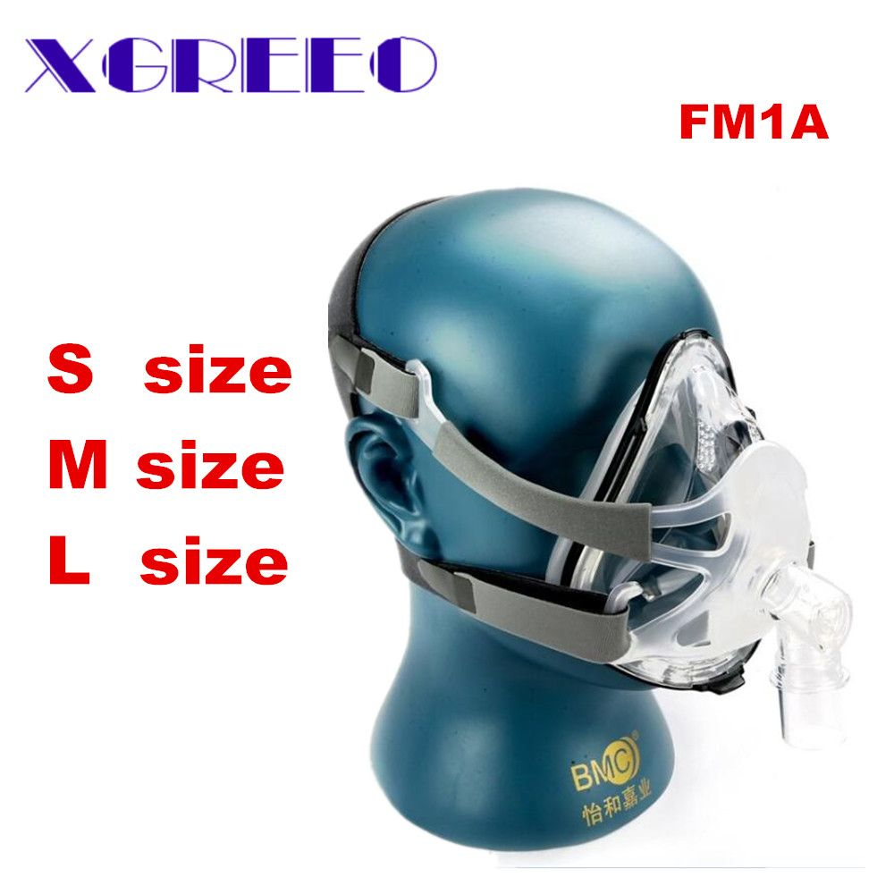 BMC FM1A Full Face Mask For CPAP Bipap Machine COPD Snoring And Sleep Therapy Size SML Connect Face Hose With Headgear Cllips