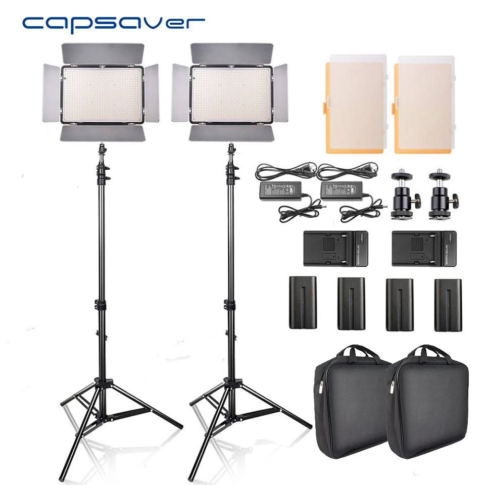 capsaver TL-600S 2pcs LED Video Light Studio Photo Photography Lighting led Panel Lamp with Tripod 5500K CRI 90 NP-F550 Battery