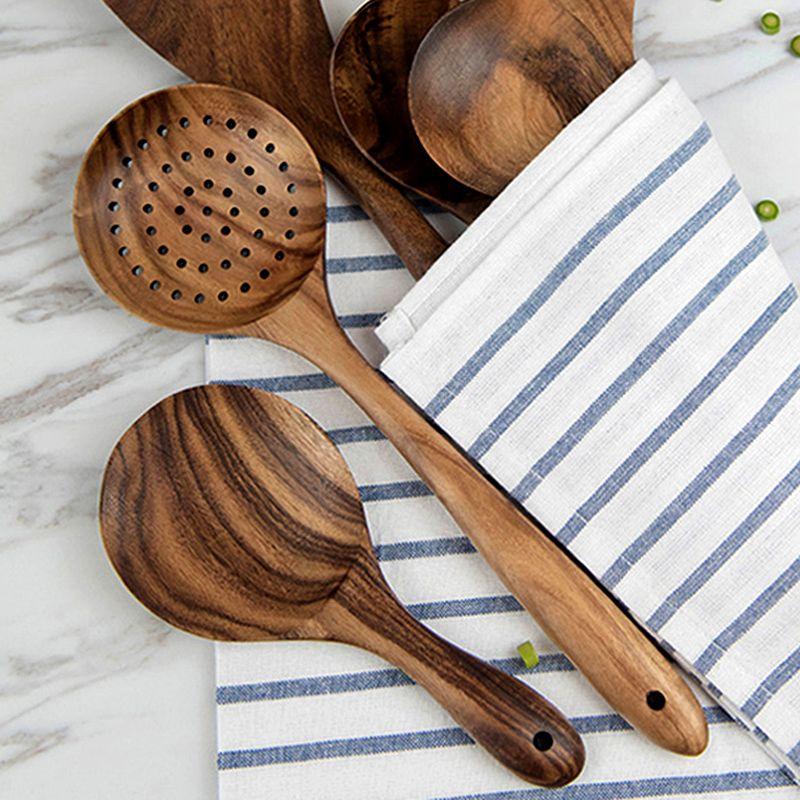 High Quality Teak Wood Spoon Long Handle Spoon Ladle Big Rice Paddle Wooden Cooking Spoon Skimmer Scoop Wooden Kitchen Utensils