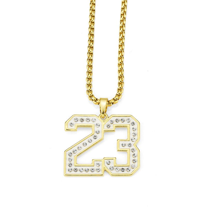 Golden Bling Number 23 Stars Rhinestone Necklaces Men Women Hip Hop Charm Stones Pendants Rock Jewelry Crystal Chains