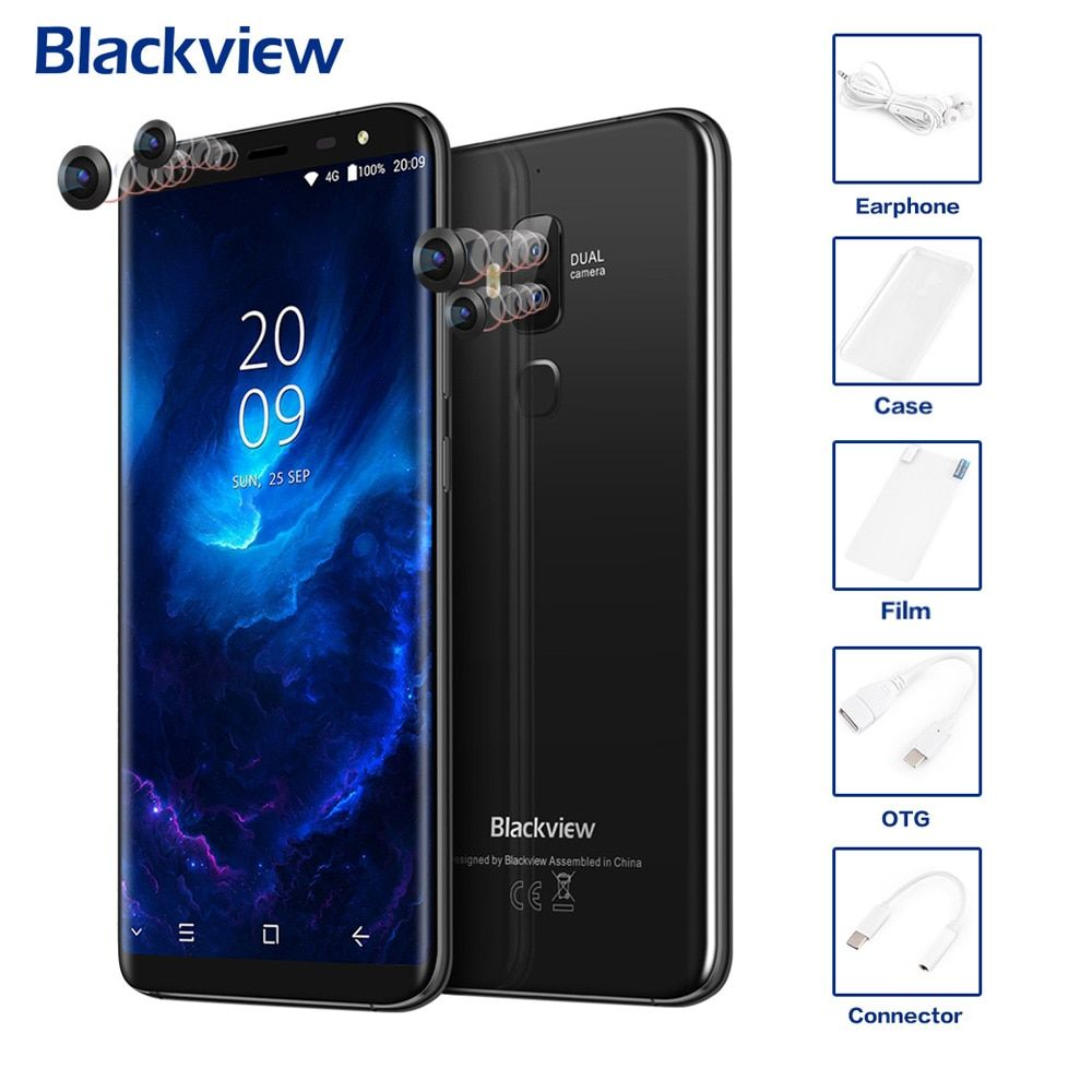 Original Blackview S8 4G Mobile Phone 18:9 HD Display Four Cams 5.7'' 4GB+64GB Android 7.0 Octa Core 13MP+0.3MP MTK6750T 3180mAh