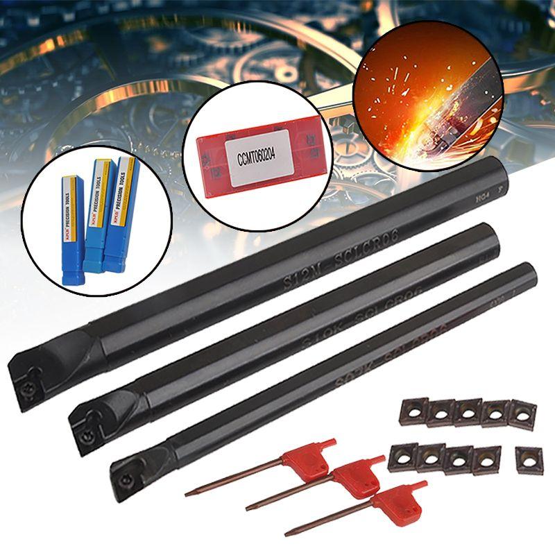 10 stücke CCMT0602 Hartmetall Einfügen + 3 stücke SCLCR Langweilig Bar Werkzeug Halter mit 3 stücke Schraubenschlüssel Für Drehmaschine Drehen werkzeuge