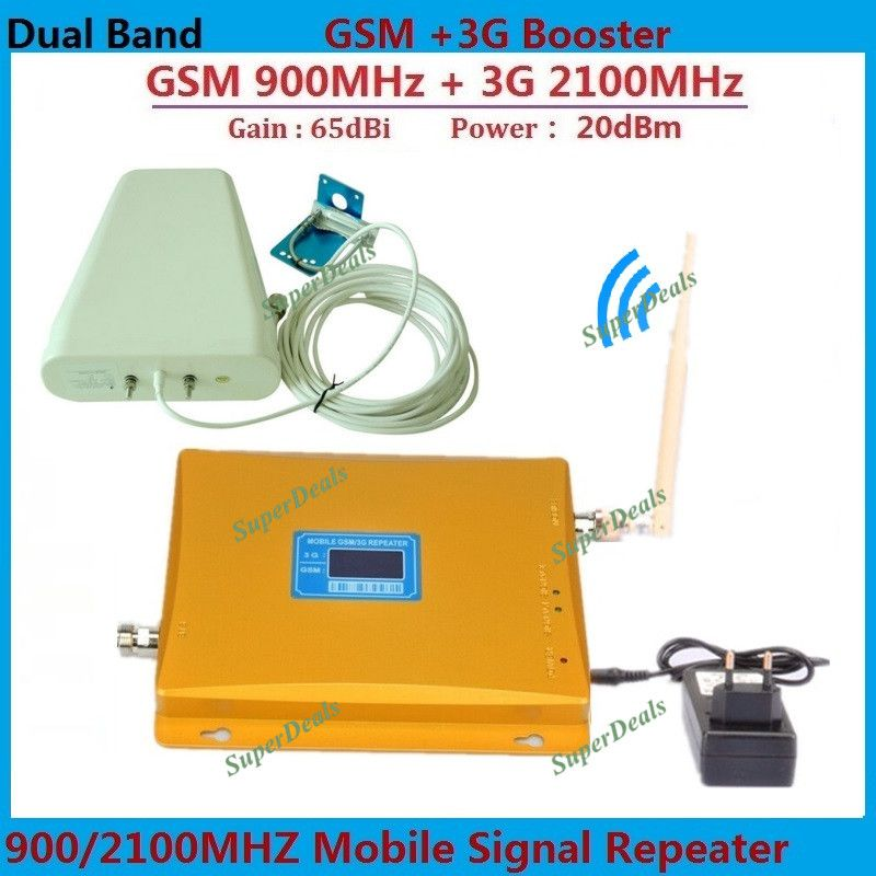 LCD Dual Band GSM 3G Cellular Signal Booster GSM 900mhz 3G UMTS 2100mhz Mobile Amplifier WCDMA 2100 Repeater Extender +Antenna