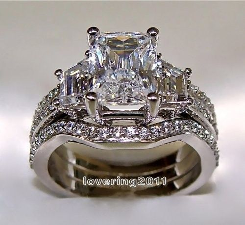 choucong Princess cut 5ct Stone 5A Zircon stone 10KT White Gold Filled 3-in-1 Engagement Wedding Ring Set Size 5-11 Gift
