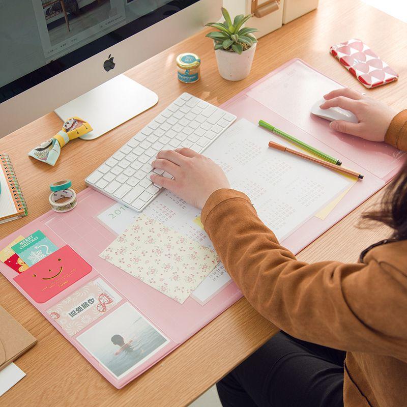 Korea Kawaii 6 Candy Colors Multifunctional Pen Holders Desk Table Pad Weekly Planner Storage Memo Mat Learning Pad Office Mat