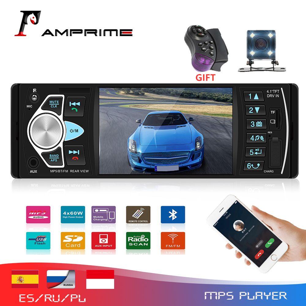 AMPrime 4022D 4.1 ''écran numérique 1Din prise en charge de l'autoradio USB AUX FM BT télécommande au volant avec caméra de recul