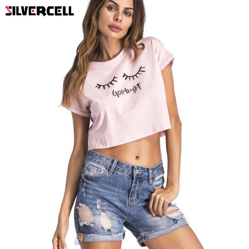 SILVERCELL Femmes Fille Casual Matin Bonne Nuit Lettre Imprimé T-shirt D'o-Cou À Manches Courtes Crop Tops Femme Fermer Les Yeux T-shirts