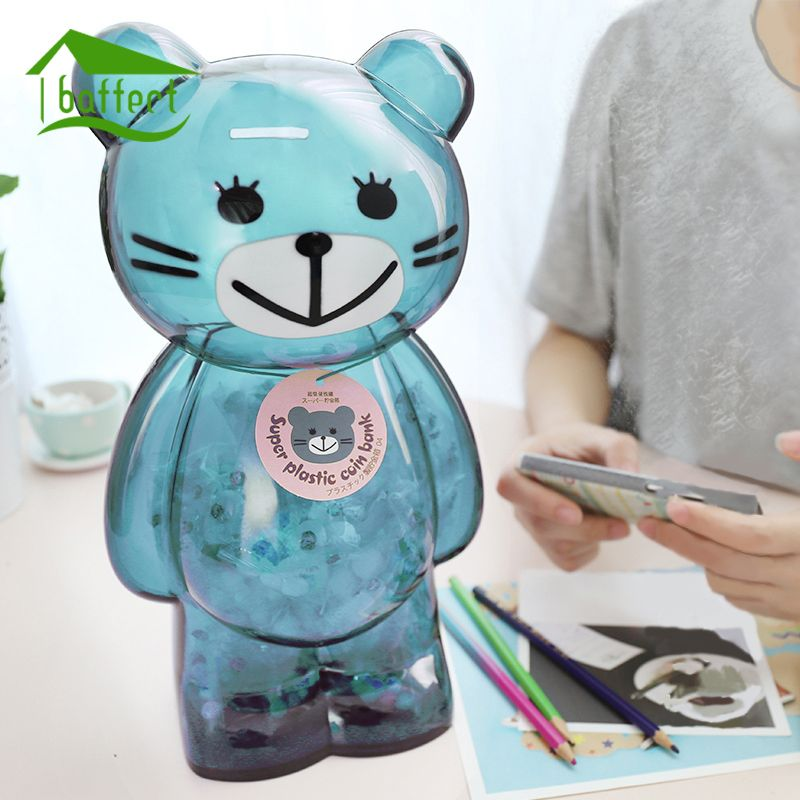 Tirelire gros ours en plastique banque de pièces dessin animé moderne économie d'argent boîte décor à la maison Figurines artisanat cadeau pour enfant enfants