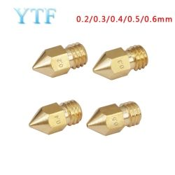 3D Printers Parts MK7 MK8 Nozzle 0.2 0.3 0.4 0.5 0.6 0.8mm Copper  Extruder Threaded 1.75mm Filament Head Brass Nozzles Part