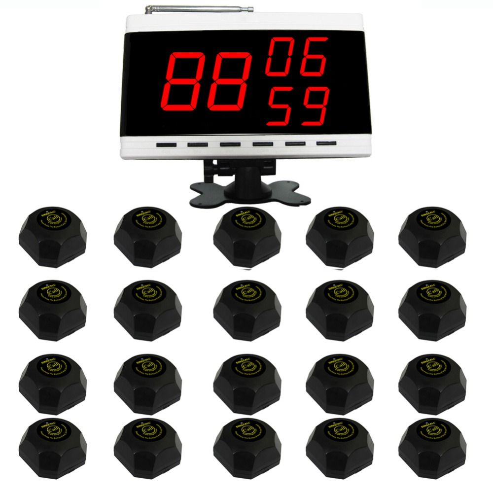 SINGCALL restaurant guest pagers calling system,press buttons for service.20 pcs table buttons and 1 pc display receiver.