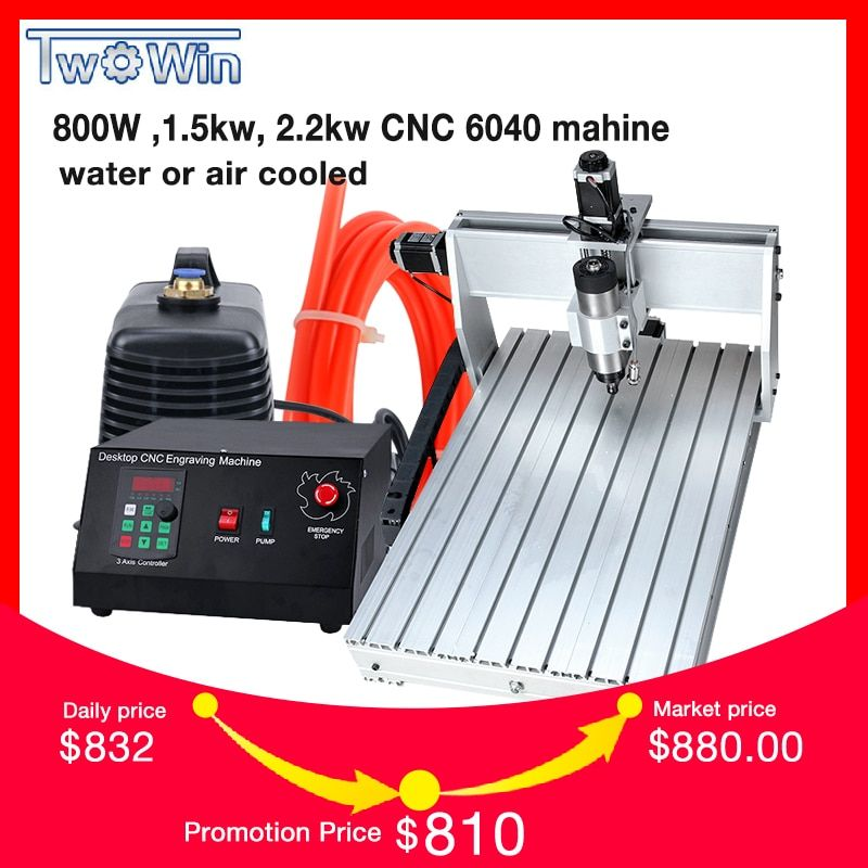800W ,1.5kw, 2.2kw CNC 6040 Three-axis CNC Router Engraver Engraving Milling Drilling Cutting Machine +Control box+Inverter