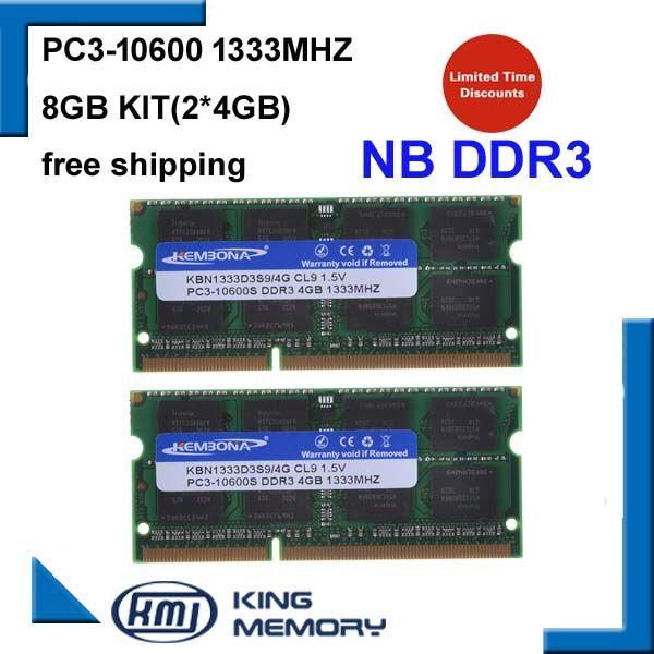 KEMBONA laptop ddr3 1333mhz 8GB (Kit of 2X4GB ) DDR3 PC3-12800s 1.5V So-DIMM 204Pins Memory Module Ram Memoria for Laptop