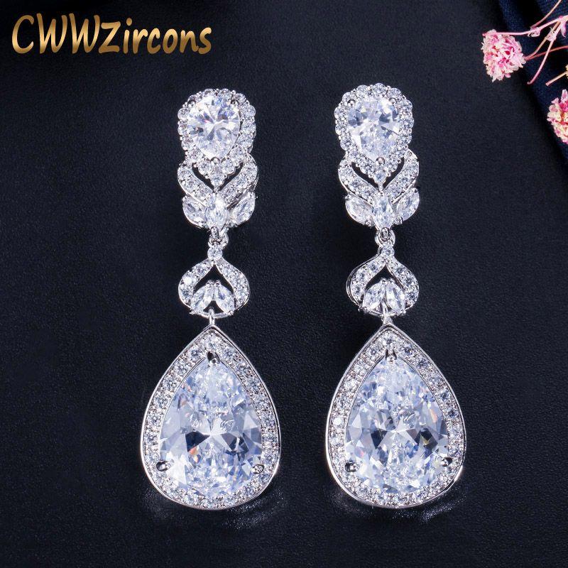 CWWZircons élégant goutte d'eau en forme de zircon cubique cristal mariée longues boucles d'oreilles bijoux de mariage de luxe pour les mariées CZ166