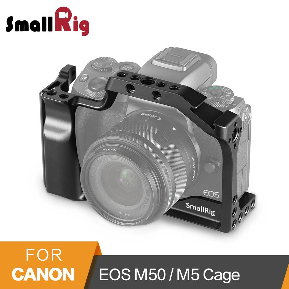 SmallRig DSLR Camera Cage for Canon EOS M50 / M5 Cage With Nato Rail Cold Shoe Mount For Quick Release Attachment 2168