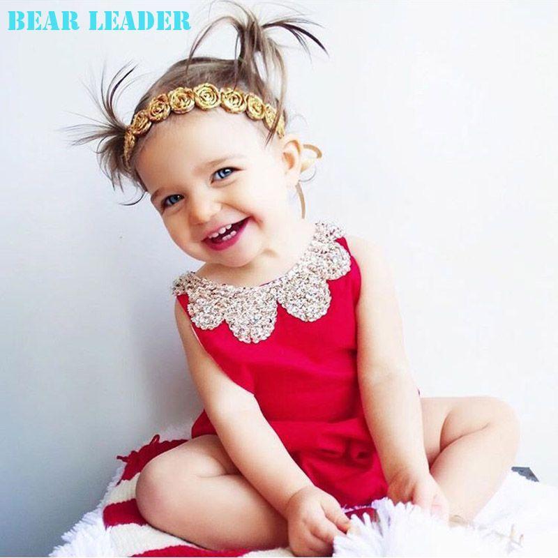 Bear Leader/Детские Комбинезоны для малышек 2018 Новый Летний Стиль Хлопок Перл воротник красный комплект детской одежды для маленьких девочек 60-95...