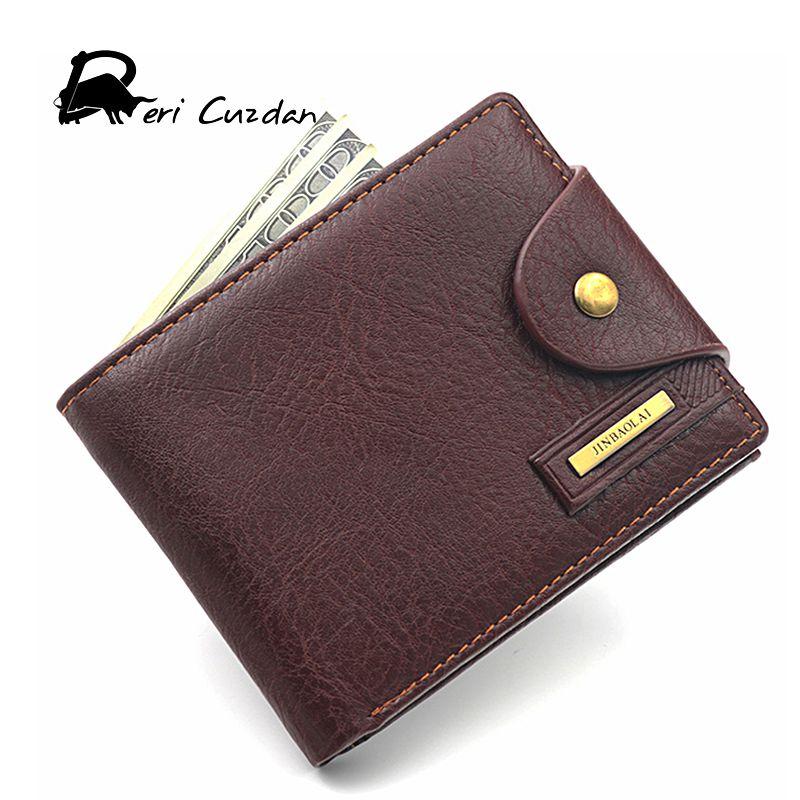 DERI CUZDAN Famous European Leather Genuine Men Wallet Zipper Coin Pocket Short Vintage Men's Wallet Portfolio Male Clutch Purse
