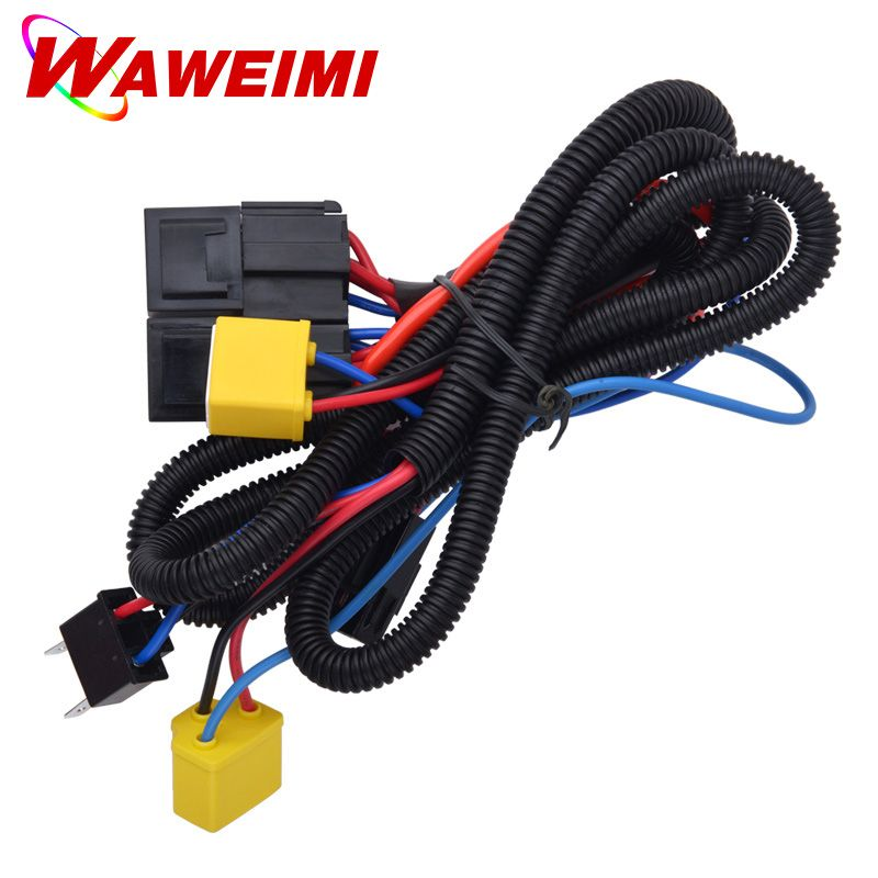 2 PCS H4/9003 Headlight Booster Cable Wire Harness Connector Relay Fuse Socket Black H4 Headlight Connector Fuse Socket