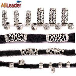 Alileader 10 Pcs/Lot Argenté Dreadlock Perles Différentes 4 Style 7 Mm Et 5 Mm Trou Tresse Poignets Clip Perles Unadjustable cheveux Anneaux