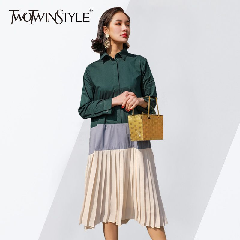 TWOTWINSTYLE Patchwork Dress Female Lapel Collar Long Sleeve Oversize Pleated Shirt Dresses Women 2018 Spring Fashion Korean