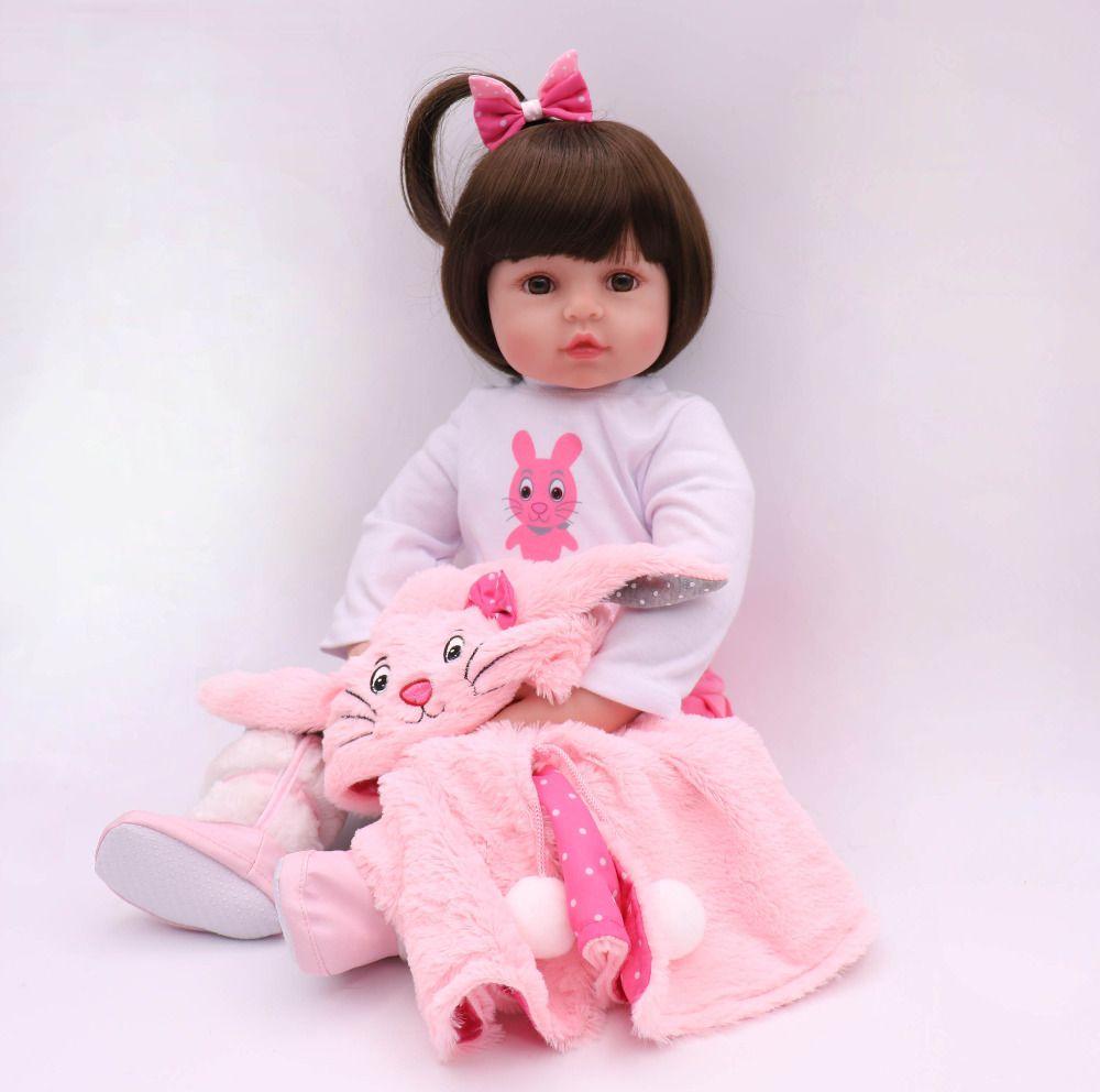 61 cm kawaii princess Silicone Reborn Doll Toddler Doll kit reborn 24 inch Baby girl toys for girls free shipping puppe mini