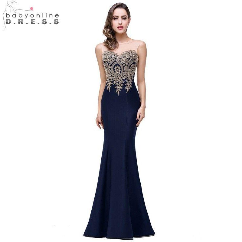 Pas cher Sheer Or Applique Royal Bleu Lilas Sirène Robes de mariée 2016 Longue Robe De Soirée De Mariage robe demoiselle d'honneur