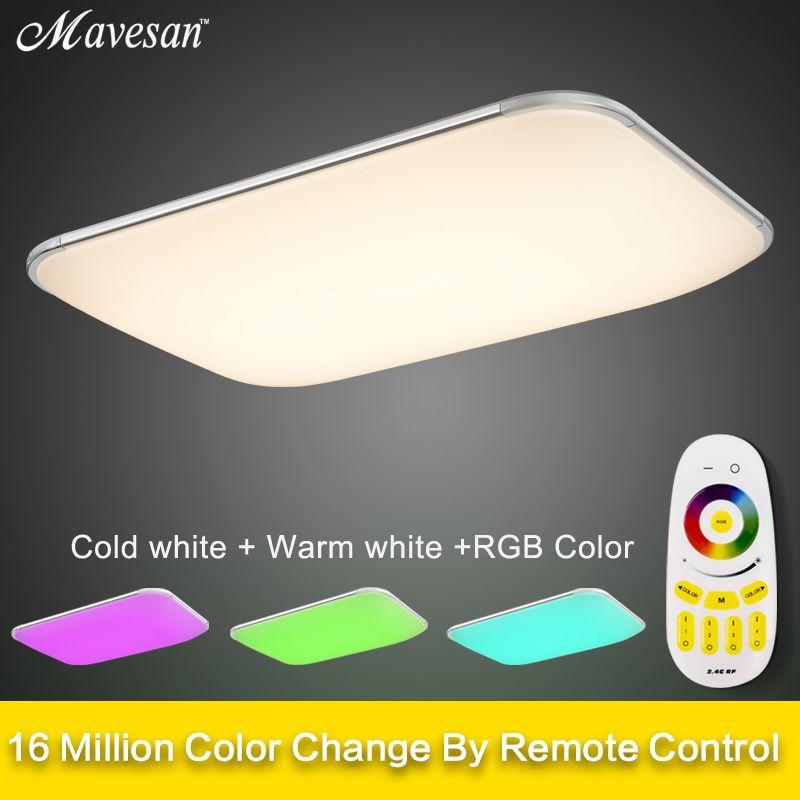 Новый RGB светодиодный Потолочные светильники Современный с Дистанционное управление затемнения Цвет Изменение лампа для гостиной Спальня ...