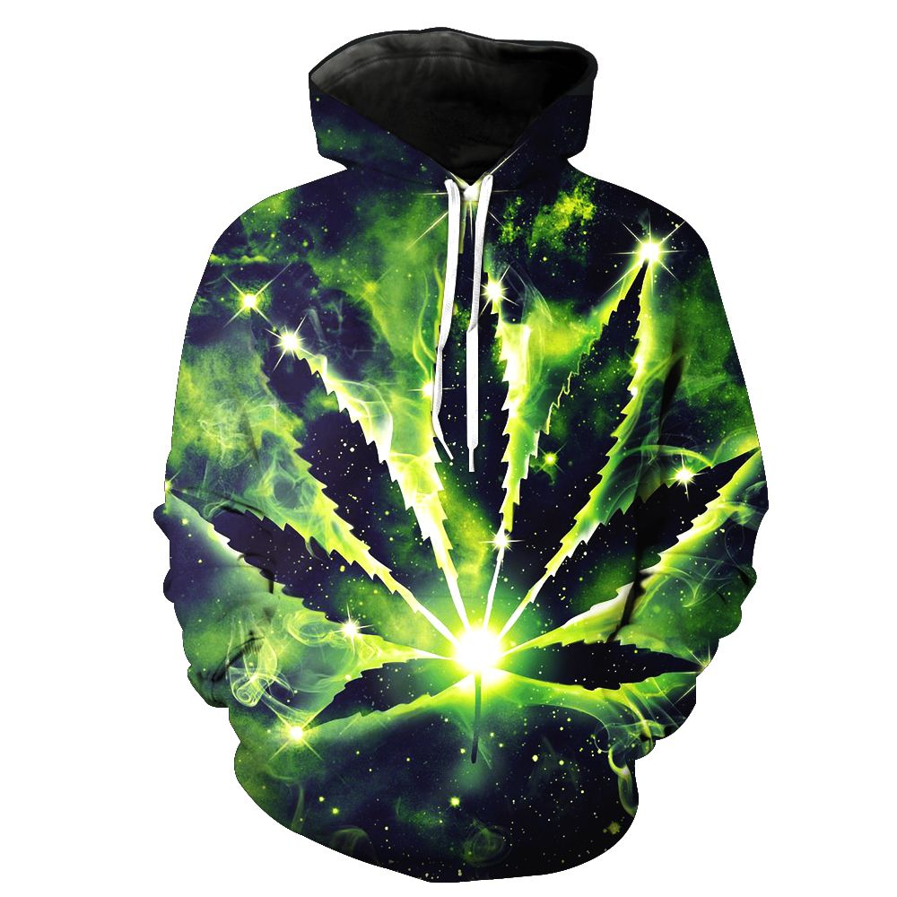 2018 New Fashion Sweatshirt Men / Women 3d Hoodies Print green leaves color pattern Slim Unisex Slim Stylish Hooded Hoodies