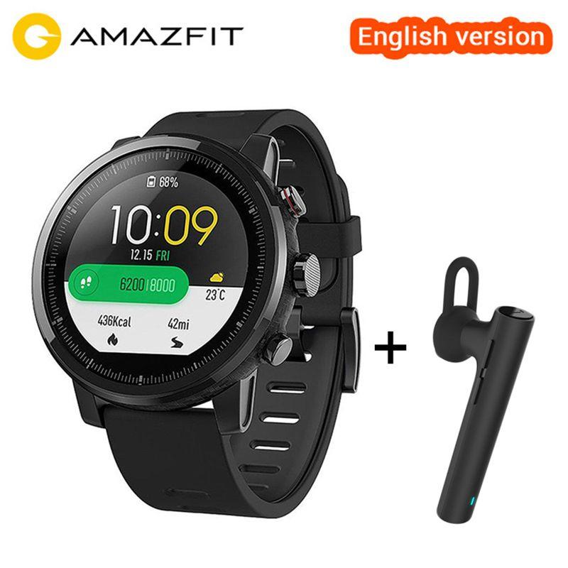 Original Xiaomi Huami Amazfit Stratos Smart Sports Watch 2 English Version Smartwatch 5ATM Waterproof GPS Glonass Wristwatch