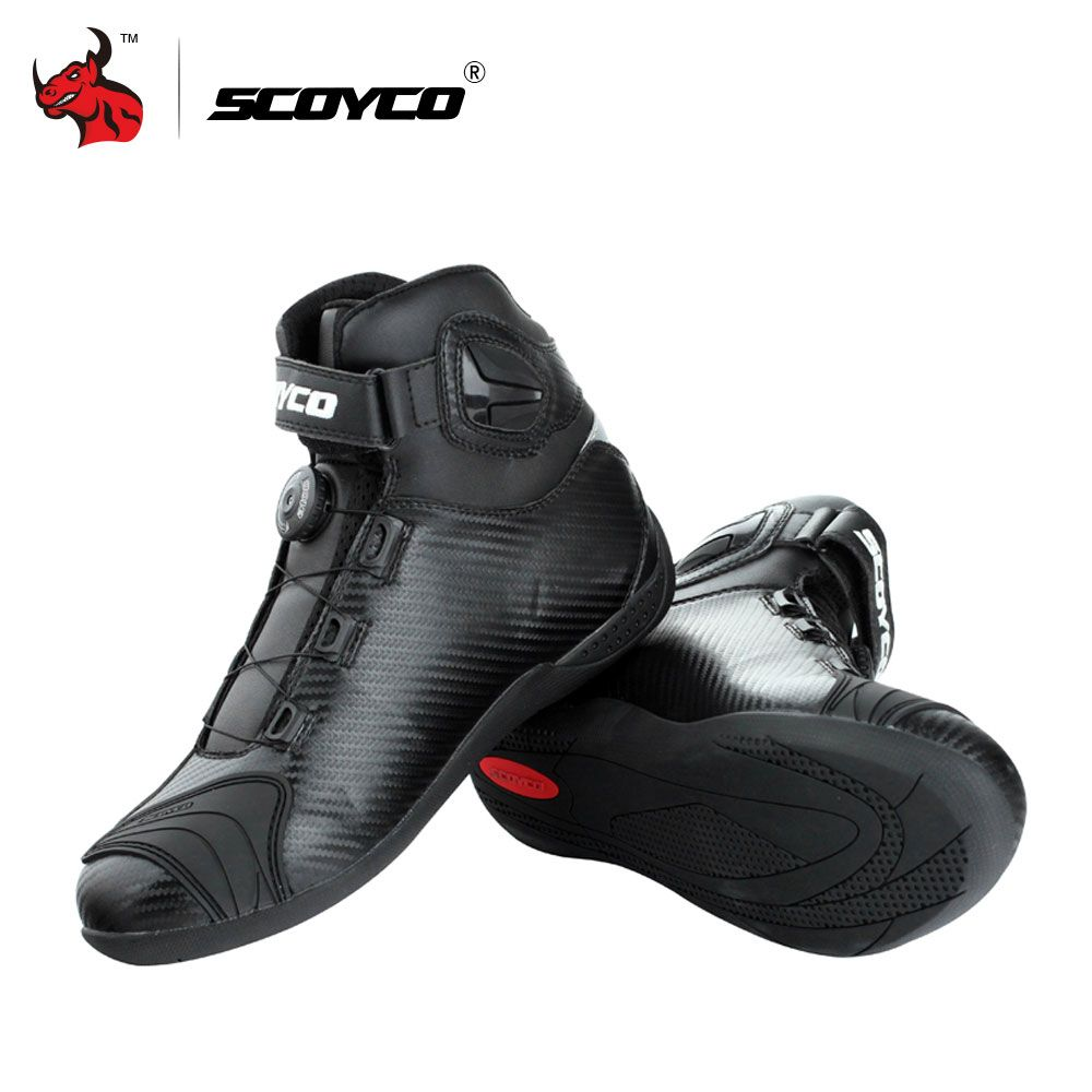SCOYCO Motorcycle Boots Leather Motocross Boots Men Moto Riding Boots Shoes With PP Shell Protection ATOP Buckles