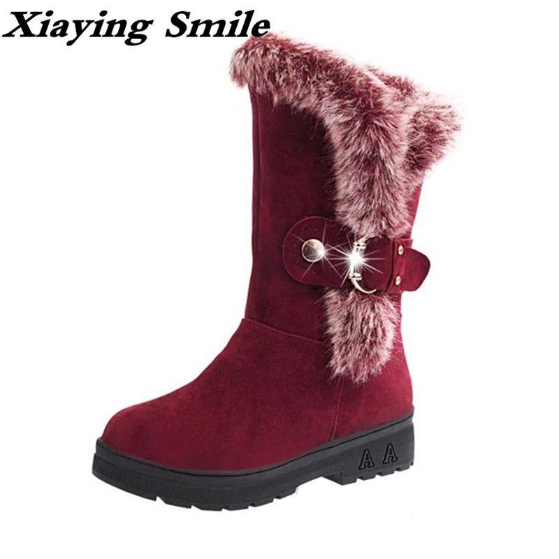 Xiaying улыбка зимы женские зимние ботинки теплые antieskid ботинки до середины икры на платформе на слипоны Туфли без каблуков Повседневное Для же...