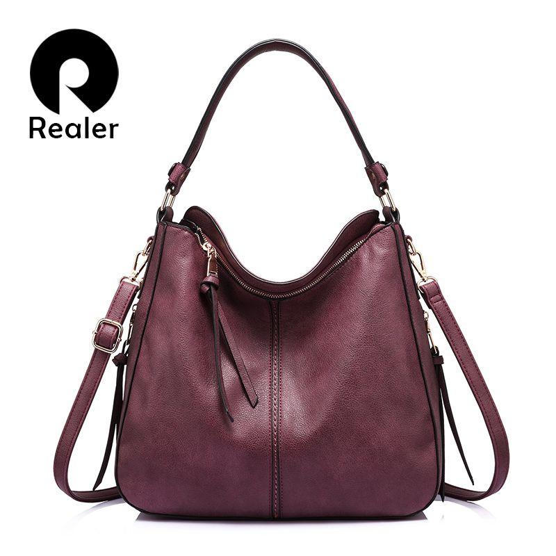 REALER brand handbag women shoulder bag female large tote bags hobo soft artificial leather ladies crossbody messenger bag purse