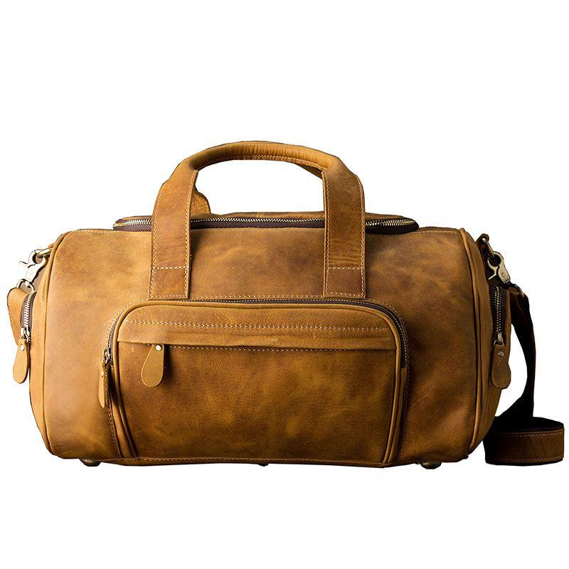 AETOO Original large-capacity mad horse leather bag male cowhide retro travel luggage bag leather shoulder shoulder men bag