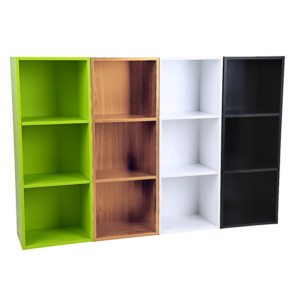 Brief Multifunction Wooden Bookcase Shelf Standing Book Shelves Storage  Wood Cabinets Display Rack 1/2/3/4 Tiers