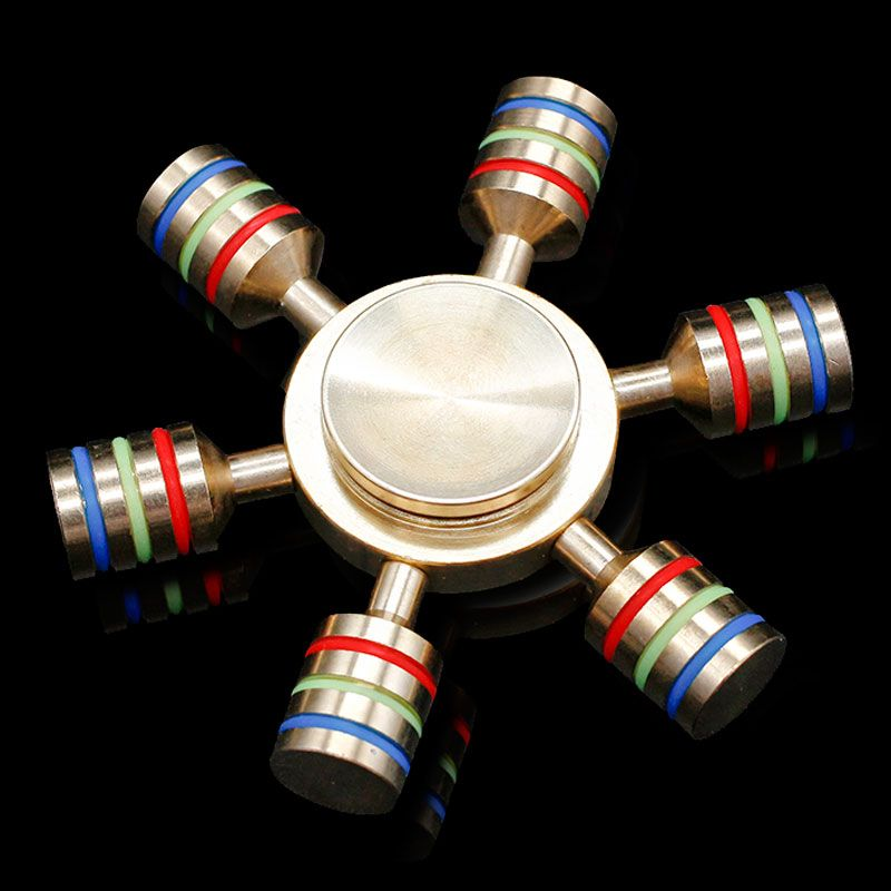 Hexagonal Rainbow Hand Spinner 100% Brass fidget toy 2017 Brand Metal fidget spinner Light edc finger Spinner relieves stress