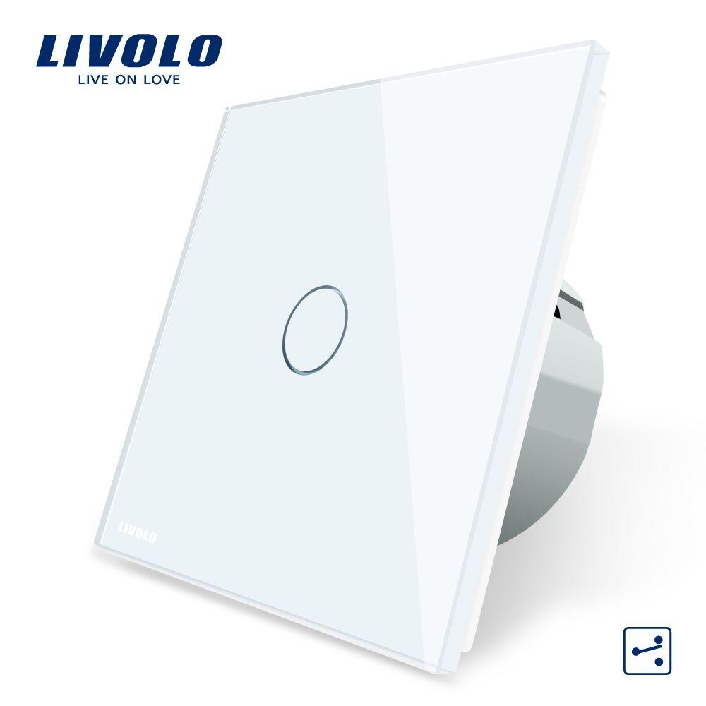 Interrupteur mural Standard Livolo EU interrupteur tactile à 2 voies, panneau en verre cristal, 220-250 V, VL-C701S-1/2/3/5