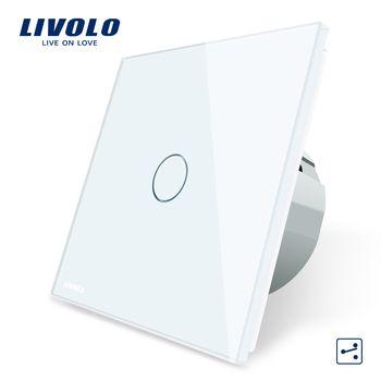 Livolo ЕС Стандартный настенный выключатель 2 Way Управление Сенсорный экран переключатель, кристалл Стекло Панель, 220-250 В, VL-C701S-1/2/3/5